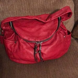 Oryany red leather double zippered handbag